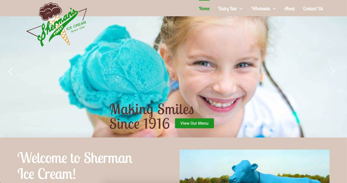 web design example: sherman ice cream