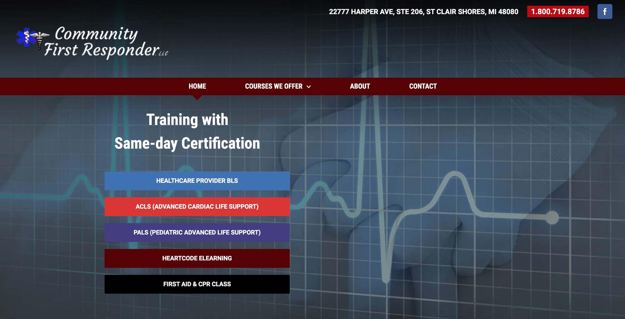 website design for cpr trainer
