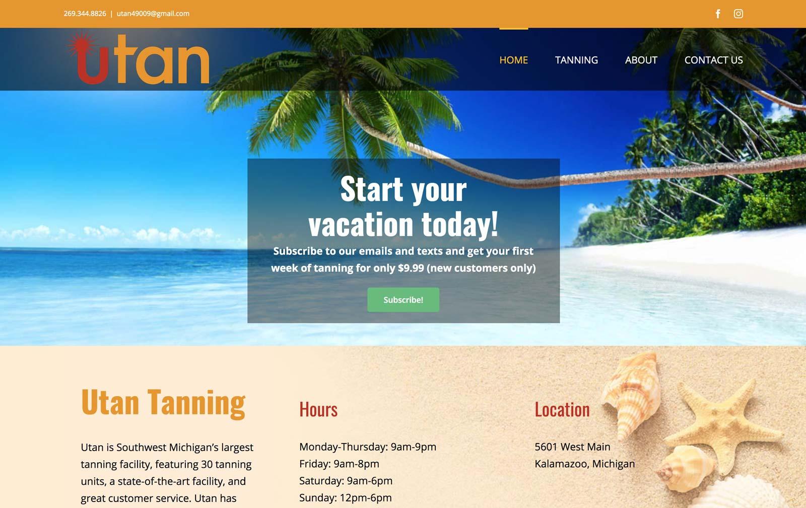 website design for tanning salon