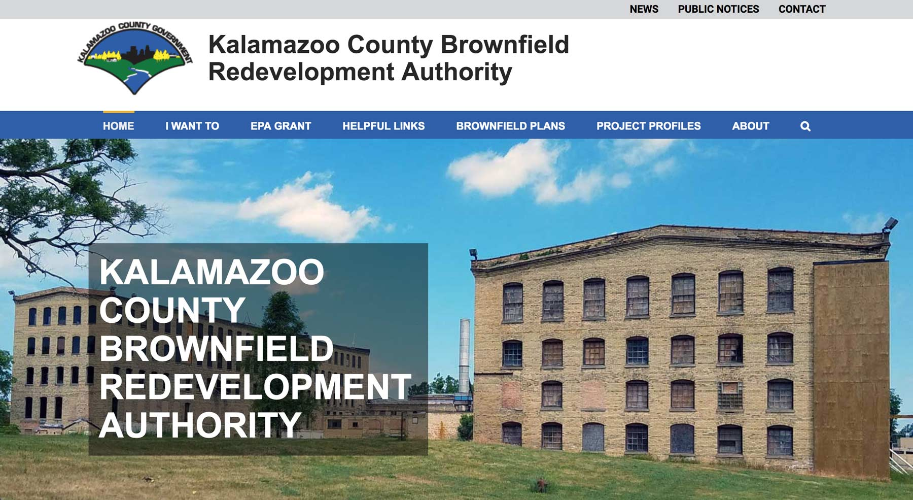 website design for kalamazoo county brownfield redevelopment authority